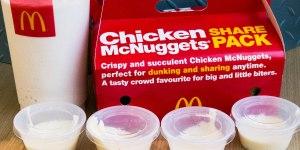 24 Chicken McNuggets® with garlic aioli and vanilla shake Gary Lum