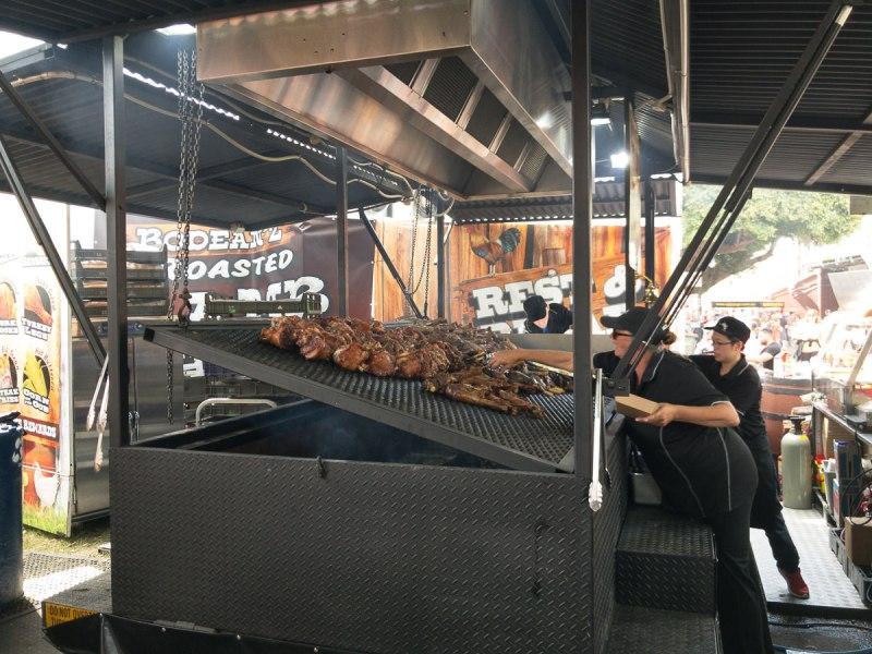 Show meats. Lamb shank, ham hock and turkey legs. The Ekka 2017 Gary Lum