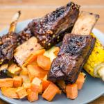 Slowly roasted Australian beef short ribs with sweet corn, mashed potato and sweet potato Gary Lum