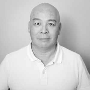 Gary Lum black and white self-portrait. My face looks a little thinner, at least to me it does 😃 four kilograms