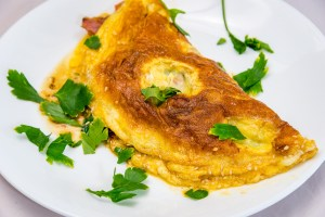 Bacon and cheese omelette for Friday morning. Stalled weight loss. Gary Lum.