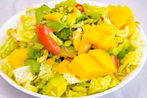 Meat-free mango and avocado spicy cabbage salad Gary Lum