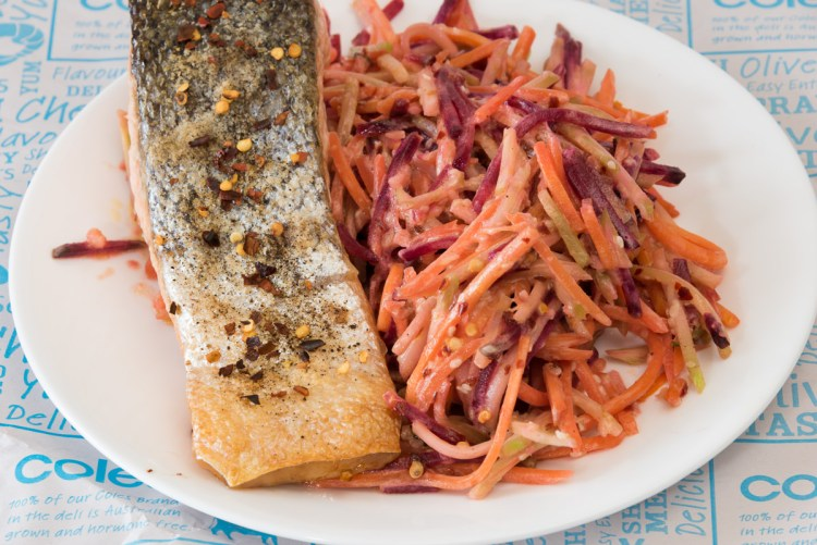 Crispy skin salmon and beetroot salad food blogging