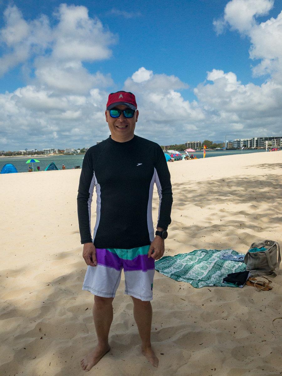 Gary Lum at Caloundra beach Australia Day