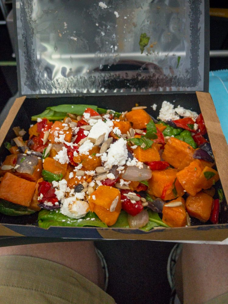 Thursday dinner. QF1550 sweet potato salad. Australia Day.