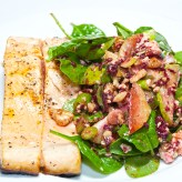 Grilled salmon fillets with a pear, walnut and Gorgonzola salad