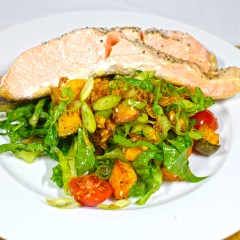 Monday2014-01-20 19.02.19-1AEDT Salmon and salad. The salmon is grilled in a pan with the lid on for five minutes and then removed. The salad was cos lettuce, pumpkin, sweet potato, spring onion, fried shallots and tomatoes.