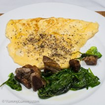 Monday 2014-02-03 06.23.11 AEDT Scrambled eggs, lamb and spinach for breakfast.