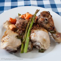 Sunday 2014-02-16 17.39.59 AEDT Tonight's dinner was 4 chicken drumsticks, 40 g sweet potato, 40 g tomato, 24 g asparagus, 30 g spring onion, and 10 g fried shallots.