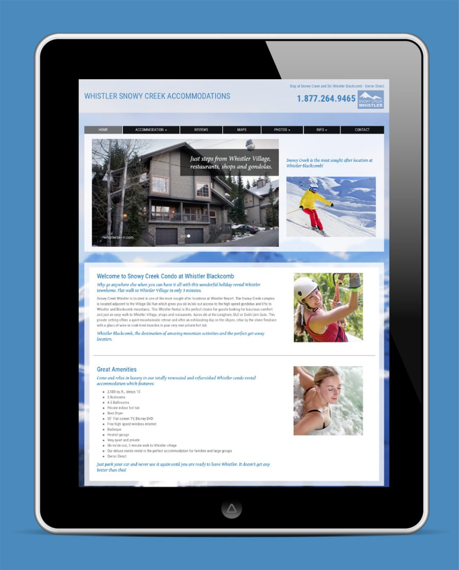 Whistler Snowy Creek Accommodations Website