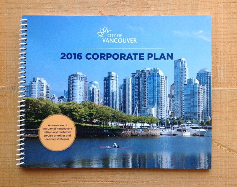 City of Vancouver | 2016 Corporate Plan Cover