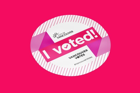 """""""I Voted!"""" sticker give-aways."""