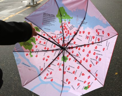 Map of voting locations printed on interior of umbrella.