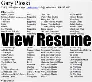 view acting resume