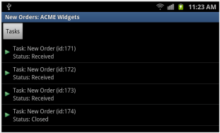 BPM Task List on Samsung Galaxy S II, Android v2.3.6 (Gingerbread), Dual Core Qualcomm CPU – 1.5GHz