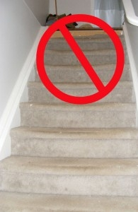 Carpet Out Stair Retreads In Gary S Fix   Carpet On Stairs Only   Concept   Line Carpet Staircase Double   Pinstripe Grey   Grey   Wood