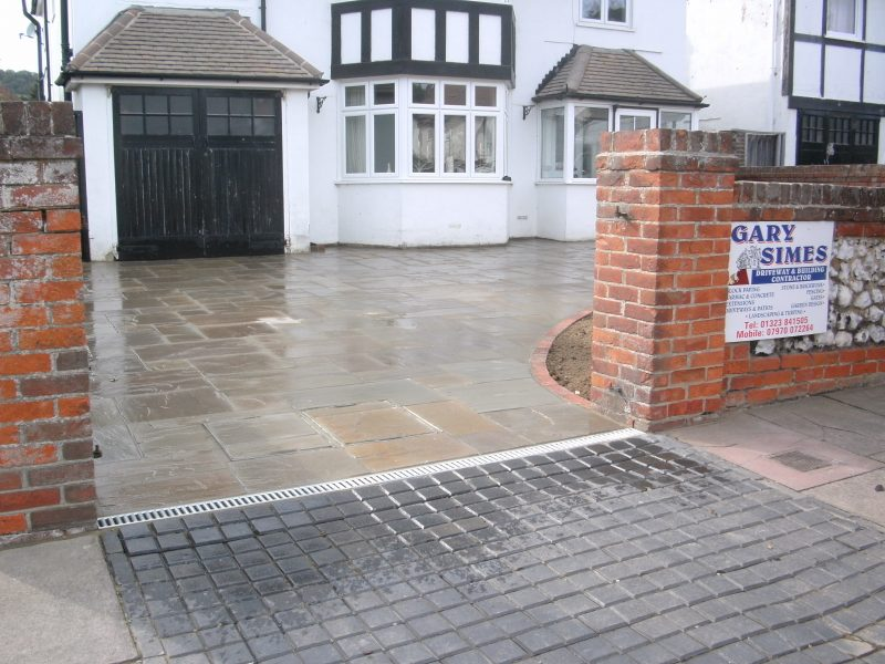 Indian Stone Driveway and Brick Edging by Gary Simes in East Sussex