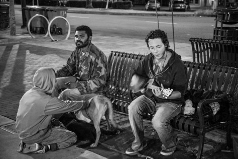 Street people at night in Berkeley, CA