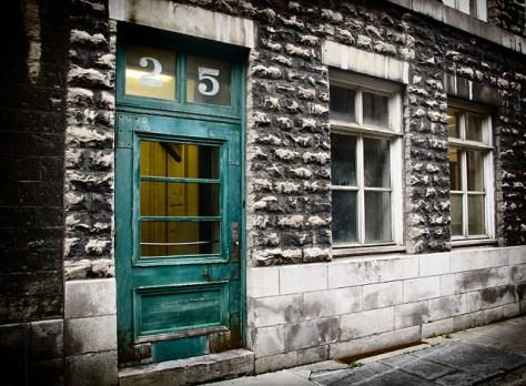 Blue door in old Quebec City