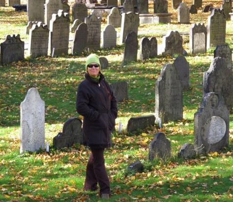 Chartreuse cap in a graveyard in Halifax