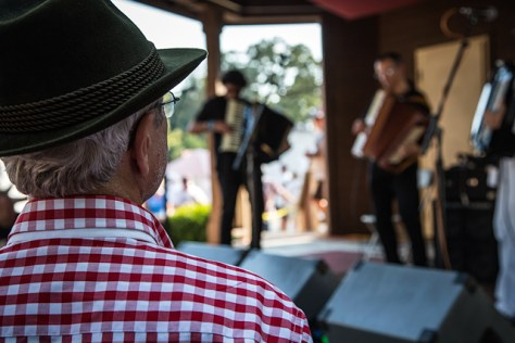Man in red checked shirt at 2013 Cotati Accordion Festival