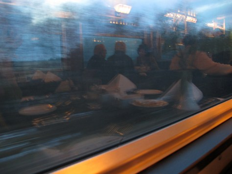 Train dining car reflection