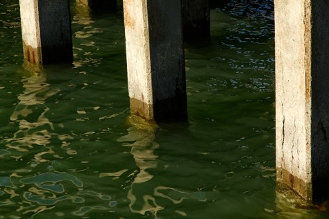 Pilings and reflection at the Fort Baker fishing pier