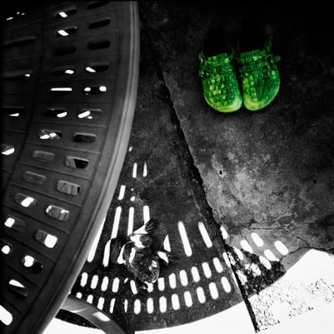 Green Birkenstocks abstracted
