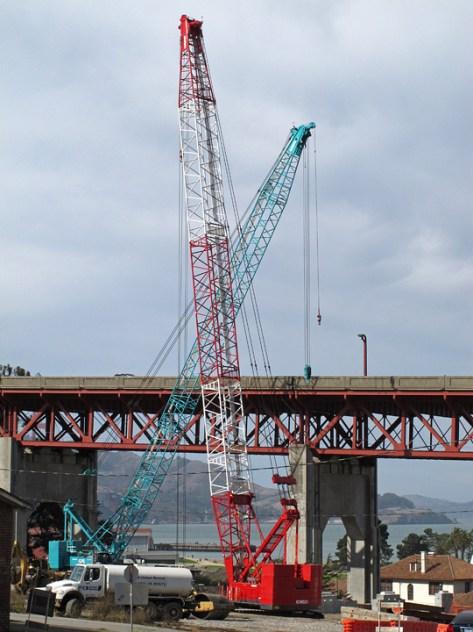 Presidio work area cranes crossed