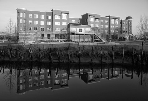 River front housing and reflection