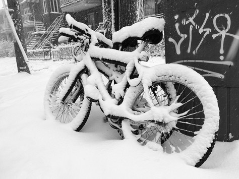 Wet snow on bikes in Montreal during snow storm