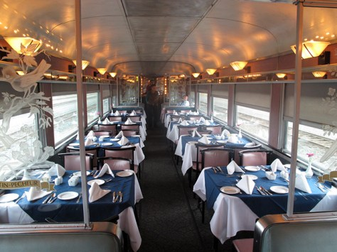 A view of the dining car