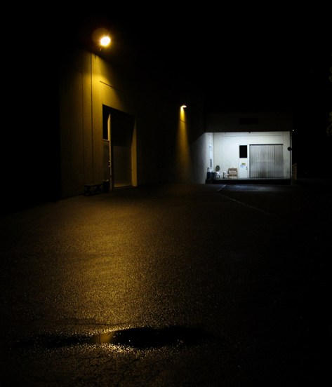Night scene of a warehouse