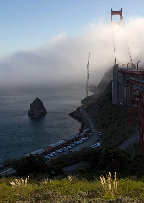Golden Gate Bridge with rolling fog