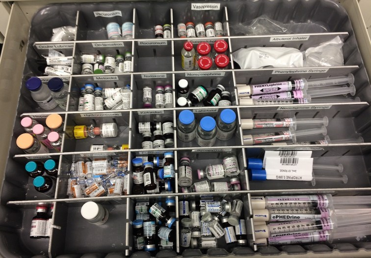 drug ampoules in an anesthesia drawer