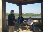 Jeff Barrow briefs drivers and crew on the state of the river, how to communicate with volunteers, and other safety concerns.