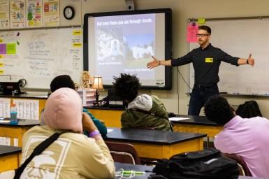 Space Ambassador Justin presenting at Maynard Jackson HS