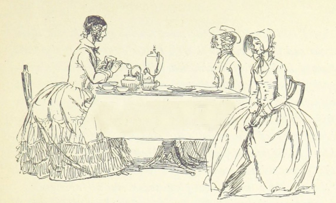a victorian illustration of women at a table, taking tea.
