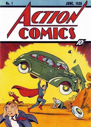Cover Action_Comics_1_Superman Debut-cover art by Joe Shuster