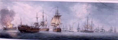 The Battle of the Nile August 1-3, 1798 by William Anderson. A drawing of the west view of the British fleet when victory was complete on 3rd August.  Provenance Possibly presented by the artist, or the publisher George Riley, to George III.  Medium and techniques Watercolour watercolour Measurements 8.9 x 26.7 cm (whole object)