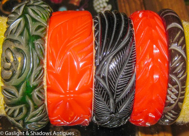 Bakelite carved bracelets just arrived