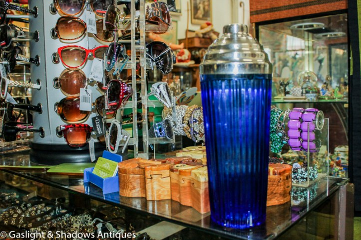art deco cobalt cocktail shaker