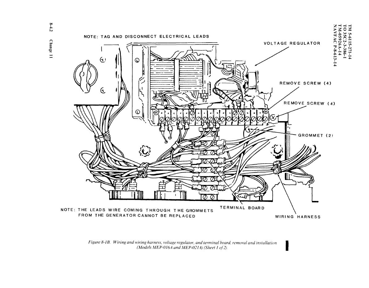 Figure 8-1B. Wiring and wiring harness, voltage regulator