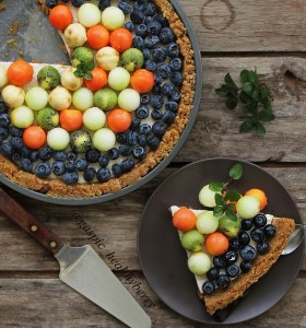 Peanut no bake fruit tart