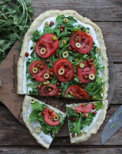 Rice crust Pizza with bechamel sauce
