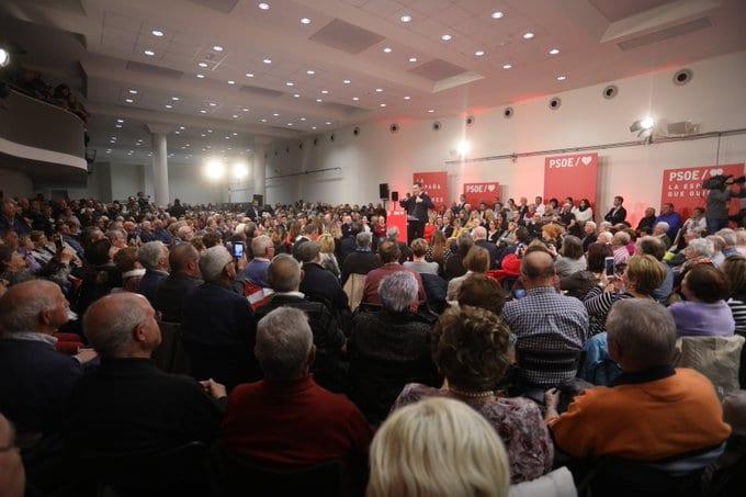 Pedro Sánchez en el acto celebrado en el Palacio Europa | Foto: PSOE