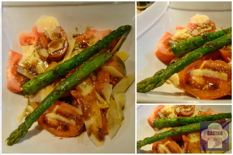 Ensalada de tomate Raf con trigueros a la plancha y lascas de Parmesano