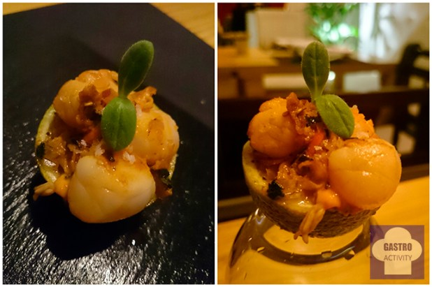 Ceviche de mini vieiras en restaurante asturiano Kuiru de Madrid