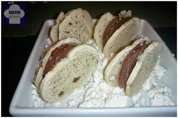 Pan con chocolate, aceite y sal