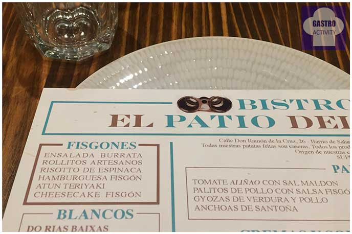 Carta El Patio del Fisgón Chamberí Madrid